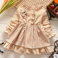 2014 autumn new children's clothing wholesale floral Korean boy infant clothing cotton dress for girls