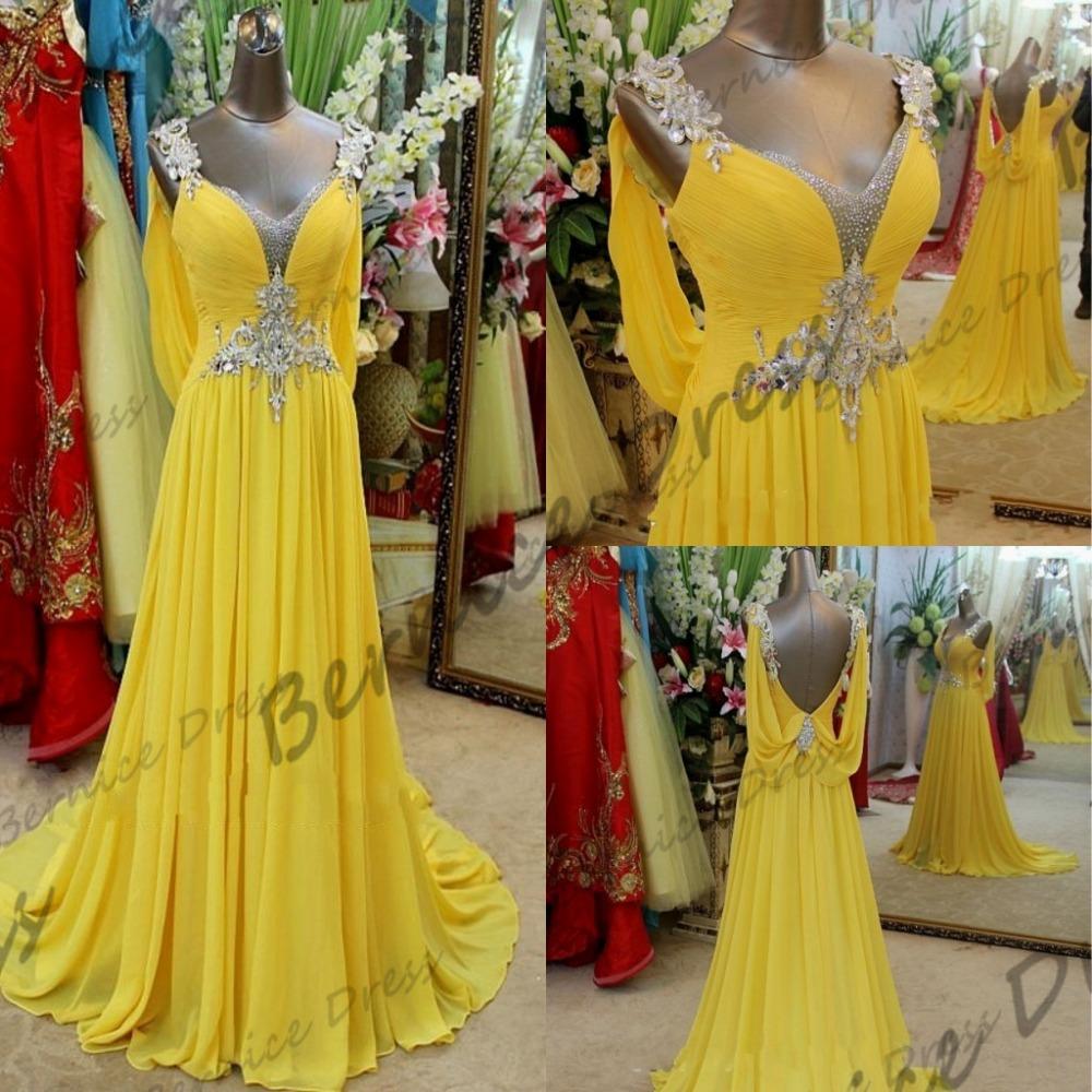 2014 Dress Vestido De Formatura Gorgeous V-Neck Beach Court Train Yellow Chiffon Crystal Prom Salomon Special Occasion Dresses(China (Mainland))