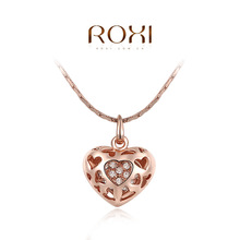 ROXI Fashion Accessories Jewelry CZ Diamond Austria Crystal Rose Gold Plated Pierced Heart Pendant Necklace Love Gift for Women