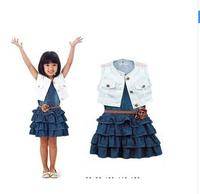 2014 summer new clothes girl dress set baby girl two-piece of children's wear white vest +bull-puncher dress