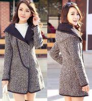 2014 fashion women big size woolen outwear middle-long trench plus size female coat loose slim warm elegant autumn winter blouse