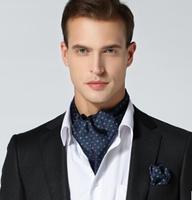 New Arrival High Quality Silk Cravat Tie Mens Ascot + Pocket Suqare Set  Paisley Ascot Tie Free Shipping 1 set # 1750