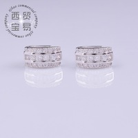 Fashion Shiny wedding Crystal Rhinestone Hoop Earrings for women Plated  Twinkle Earrings EK007