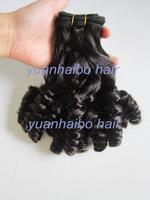 Super 6a quality 3pcs/lot #1b tip bouncy curls virgin peruvian aunty funmi human hair weaves free shipping