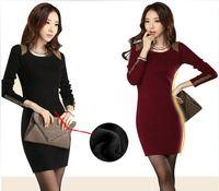 2014 new winter Women fashion Korean plus size  thick wool fleece liner warm  long-sleeved button  women basic dress