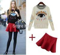 European And American Women'S Clothing set 2014 New Fashion Eyes Print Sweater + Skirt Suit sweater Set 2pcs free shipping