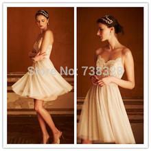 2014 Cheap Tulle Vestido De Noiva Sleeveless Bridal Gowns Bridesmaid Dress Garden Beach Cheap Short Wedding Dress Under 100(China (Mainland))