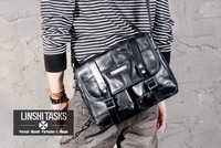Brands100% Genuine Leather Unique Tactical Vintage Designer Men Shoulder Messenger Bags Casual Schoolbag Black Sacoche Briefcase
