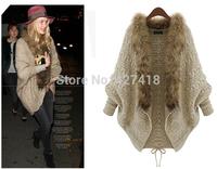 Free shipping 2014 new European station raccoon fur collar blouse thick sweater cardigan luxury outwear women