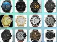 2014 DIESELER men's fashion stainless steel watches, top brand quartz watch calendar, DZ leather band watches sports watch