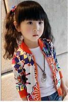 Free Shipping 5 pcs/lot  Kid Girls Autumn Regular Long Sleeves Coats Girl Spring Jackets Kids Outerwear for Height 100-140cm