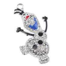 5pcs Frozen Olaf Pendant, Frozen Rhinestone Pendant, Winter Snowman Olaf Rhinestone Pendant Chunky Necklace Bead(China (Mainland))