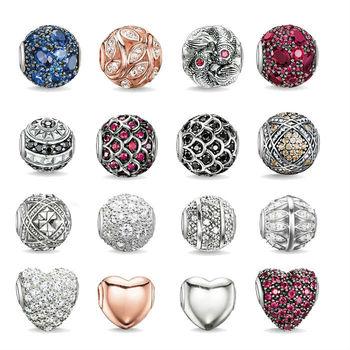 Бесплатная доставка 925 серебро DIY круглые подвески бусины подвески для женщин ожерелья ...