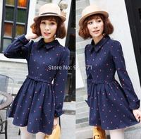 Fall and winter Women  cute Slim waist long-sleeved woolen doll  peter pan collar bottoming winter dress