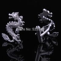 (xk006)Lucky!!!!! Laser metallic silver color auspicious dragon cufflinks, can bring good luck, most Chinese wind cufflinks