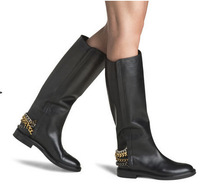 hot sell casad knee-high women boots 2014 genuine leather slip-on casade women autumn boots four chain women motorcycle boots