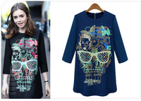 2014 New Autumn Printed Skull One Piece Fashion Dress,2 colors for choice, Loose Causal Style Ladies Dress, Freeshipping