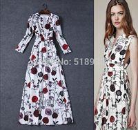 New 2014 autumn winter women fashion floral patterns print long dress v-neck floor length brand maxi casual dresses waist bow