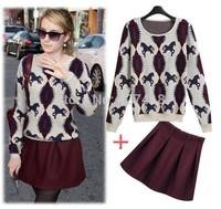 new 2014 autumn and winter fashion o-neck long-sleeve basic sweater Wine red skirt twinset women's clothing set 2pcs sweater set