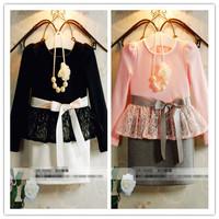Hu sunshine wholesale new 2014 Autumn Fall girls dress full sleeve lace and bow decoration princess dress no necklace ZLF092803H