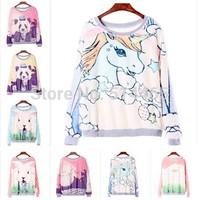 [Amy] 2014 new style fashion lovely small white rabbit women hoodies Long sleeve women's  sweatshirt 5 model
