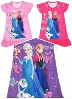 Retail frozen dress elsa nightgown girl dress for summer Olaf dresses girls Anna