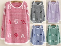 Free Shipping New 2014 autumn-summer fashion slim pullover o-neck long-sleeve Knitted sweaters women's letters mohair sweater