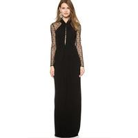 New Arrival! Fashion v-neck long sleeve lace patchwork long Dress,Sexy floor-length women's Dresses, size M/L, DL6589