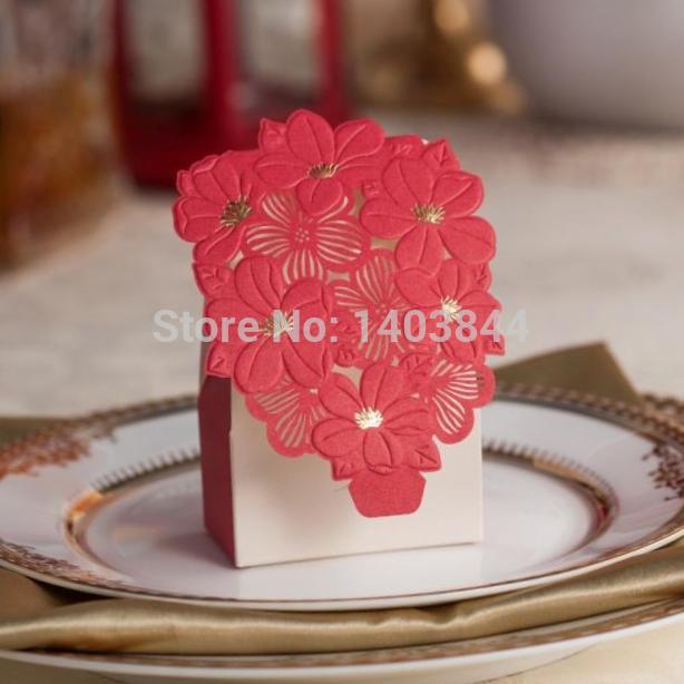 Chinese Red Vivid Embossed Flowers Favor Box CB050, Matching Wedding Invitation Card CW050(China (Mainland))