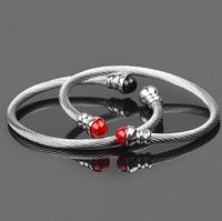 Men Twist Bangle 316l Stainless Steel Braceletes Pulseiras Imitation pearls Fashion Charm Jewelry  76D3