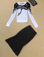 2014 new fashion model free shipping best quality Knitting coat black skirt suit