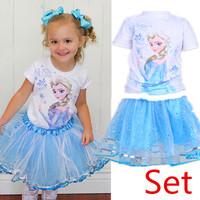 Retail New 2014 Summer fashion Girls set Frozen Elsa T shirt + Sky Blue Layered Tutu skirt Frozen Clothing Sets