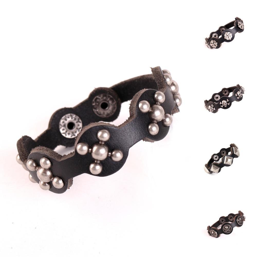 Genuine Leather bracelet bangle men bracelet skull Punk charm bracelet cuff Rivets Men fashion jewelry brown color leather(China (Mainland))