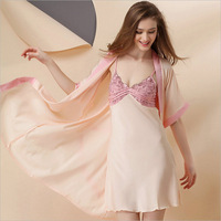Magicdream Brand Design Women Sexy Lace Nightgown Robe Set Fashion Silk Nightwear Sleepwear Dress