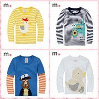 New 2014 children t-shirts, cotton long sleeve t shirts, skip animal cartoon t-shirt, candy color kids t shirt, nova kids