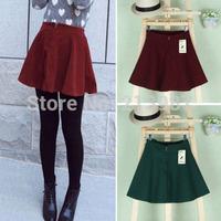 2014 Autumn and winter new saias femininas 4 colors women zipper front woolen bust skirt fashion A-line women short skirt