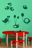 Birds love balloons decorated living room bedroom bed home fashion trade generation PVC wall stickers custom M492