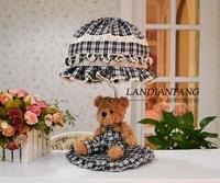 Free shipping cute teddy bear sweet children bed chandeliers desk lamp