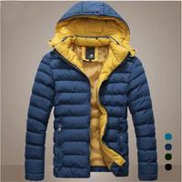 2014 Men's Winter Jacket Coat Warm Cotton-Padded Jackets Wadded Jacket Hooded Slim Down Coat Parkas Outwear 4 Colors M-3XL