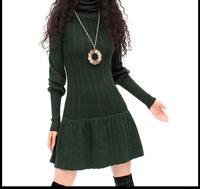 2014 WinterVintage women's turtleneck knitted dress lady's basic dress