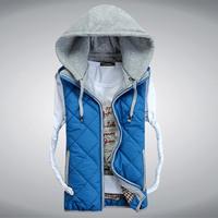 Man's Down Cotton Vest Big Size 3XL Winter Sleeveless Jacket Casual Warm Fashion Waistcoat 2014 Design Fashion Slim Vests
