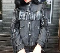 Luxury new 2014 autumn winter women fashion tassel wool jacket coat stand collar pockets cool punk rock cowboy style jackets
