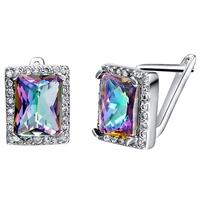 Punk Big Stud Earrings for Women Crystal Earring Rhinestone Accessories Sterling Silver Brincos Bijuterias Christmas Ulove R767