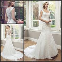 Vestido De Noiva Sereia 2014 Cap Sleeve Sweetheart Applqieus Lace Mermaid Wedding Dresses Court Train Bridal Gown Custom Made