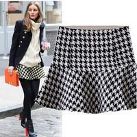 2015 fall winter classic black white Houndstooth pattern women's woolen fishtail mini skirt free shipping
