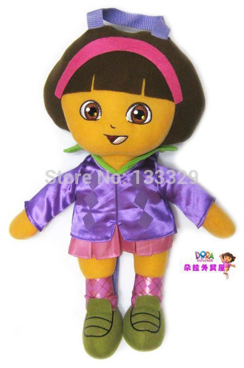 frete grátis roxo dora the explorer de pelúcia para as crianças de pelúcia crianças mochila de pelúcia figura de ação cartoon presente boneca 1243(China (Mainland))