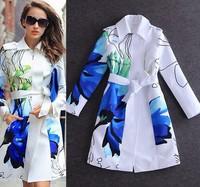 Free shipping women turn-down collar print white slim overcoat outerwear trench coat