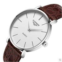 GUANQIN Male table quartz watch waterproof watch leather watches men's watches quartz watch Simple