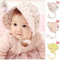 Free shipping 1 Piece summer Double cotton sun hat Cute flower Headwear  Baby Hats+age 6-18 months, lovey Children kids Girl Cap