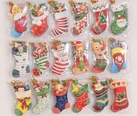 100pcs/lots Free shipping Folding card  socks for Christmas CARDS modelling Christmas tree decoration pendant